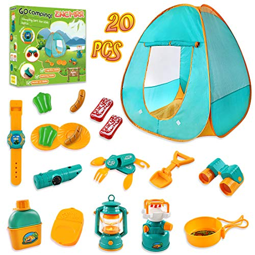 ZNCMRR 20 PCS Kids Tent Camping Set, Camping Gear Set Pretend Play Camping Equipment Tool Set, Indoor & Outdoor Toys Camping Gear Set for Kids