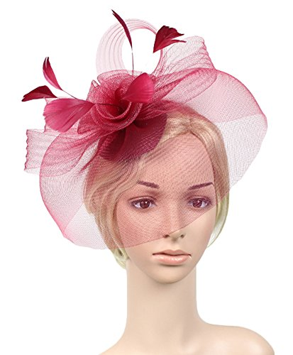 Elegant Flower (Urban CoCo Women's Elegant Flower Feather and Veil Fascinator Cocktail Party Hair Clip Hat (Wine red))