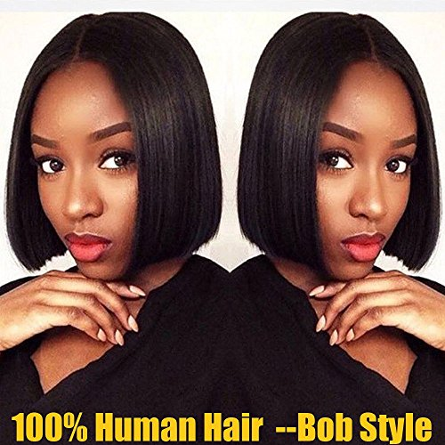 S-noilite 100% Brazilian Human Hair Bob Lace Front Wig for Women Pre Plucked with Baby Hair Medium Short Straight Wavy Middle Side Part Bob