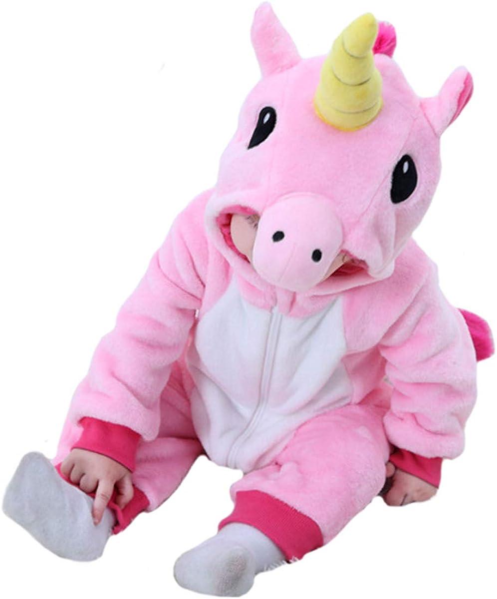 Doladola Franela de ni/ña para beb/é Animal de Dibujos Animados Unicornio con Capucha Onesies Mameluco