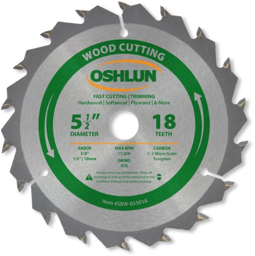 Oshlun SBW-055018 5-1/2-Inch 18 Tooth ATB Fast Cutting and Trimming Saw Blade with 5/8-Inch Arbor (1/2-Inch and 10mm Bushings)