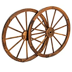 Best Choice Products 30in Set of 2 Decorative Wall Accent Old Western Wooden Garden Wagon Wheel w/Steel Rims