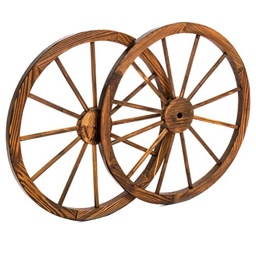 (Best Choice Products 30-inch Set of 2 Decorative Wall Accent Old Western Wooden Garden Wagon Wheel with Steel Rims, Stained Finish, Brown)