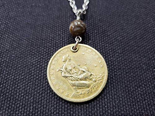 CoinageArt Brazil Coin Necklace 1000 Reis from Brazil dated 1927 with Agate Gemstone on Brilliant Stainless Steel Chain - 92nd Birthday Necklace 180