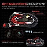 MICTUNING MIC-B1002 LED Light Bar Wiring Harness, Fuse 40A Relay On-off Waterproof Switch