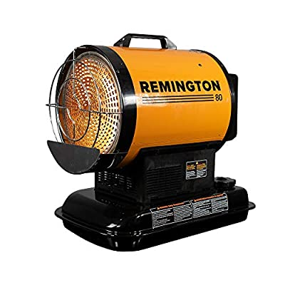 REMINGTON REM-80-OFR-O Radiant Heating for up to 2000 Square feet, 80,000 BTU, Black, Yellow