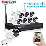 [New Upgraded] TMEZON 8CH 960P 1280x960 HD WIFI NVR Network Wireless Security Camera System with 1.3MP Night Vision IP Surveillance Camera Kit CCTV Smartphone Quick View NO Hard Drive