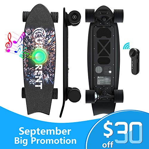 Mini Electric Skateboard with Bluetooth Speaker Wireless Remote Controller | Portable E-Skateboard for Adults and Youths Electronic Longboard 350W 15.5mph Top Speed All-Terrain Urban/Street