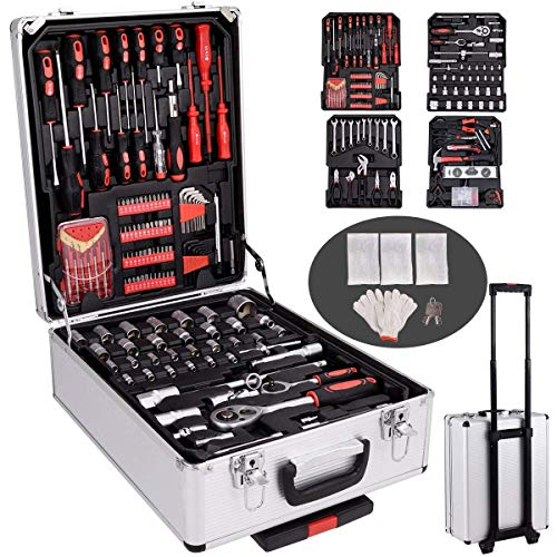 Goplus 599 PCS Tool Set Mechanics Tool Kit Wrenches Socket w/Trolley Case