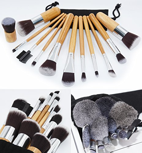 Makeup Brush Set Suntop12 Pcs Professional Bamboo Handle Premium Synthetic Cosmetics Face Eye Shadow Eyeliner Foundation Blush Lip Powder Liquid Cream Brush Handmade Makeup Brushes Kit(Black Case Bag)