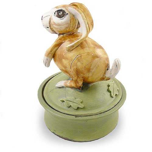 American Made Ceramic Pottery Keepsake Jar, Storybook Bunny