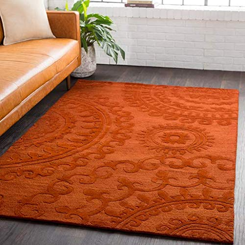Tutwiler Bohemian Global 8' x 10' Rectangle Solid & Border 100% Wool Burnt Orange Area Rug