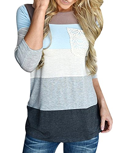 Patchwork Skirt Pattern (Womens Crew Neck 3/4 Sleeve Striped Pattern Casual Shirts Patchwork Tunic Tops With Lace Pockets (XXL=US 18-20, Gray))