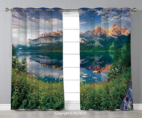 Grommet Blackout Window Curtains Drapes [ Apartment Decor,Sunny Summer Morning on the Lake Austrian Alps Crystal Mirroring Water Fairy Season Photo,Multi ] for Living Room Bedroom Dorm Room Classroom