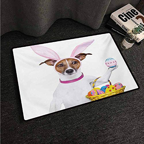 HCCJLCKS Door mat Easter Dog Dressed up as Easter Bunny Holding a Basket of Eggs Funny Animal Illustration Country Home Decor W16 xL24 Multicolor ()