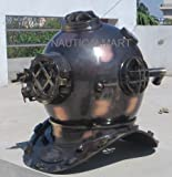 BLACK ANTIQUE US NAVY MARK V DIVER'S HELMET US NAVY DEEP WATER DIVING HELMET