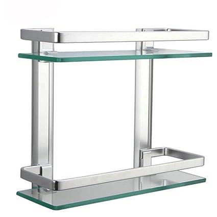 Estante rectangular de aluminio y vidrio templado para montar en la pared del cuarto de ba&ntilde