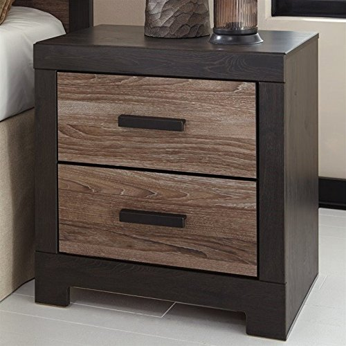Ashley Furniture Signature Design - Harlinton 2 Drawer Night Stand - Contemporary Vintage Bedside Table - Warm Gray & Charcoal