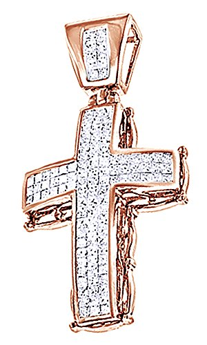 2.25 Ct Round Cut White CZ Hip Hop Cross Pendant In 14K Gold Over Sterling Silver by Wishrocks