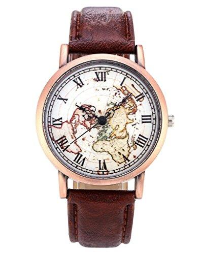 Unisex Watch Quartz Wristwatch World Map Leather Band 1 - 1