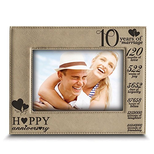 - BELLA BUSTA-Happy 10th Anniversary-10 Years of Marriage,Months, Weeks, Days, Hours, Weeks, Minutes, Seconds- 10 Years Engraved Leather Picture Frame (5