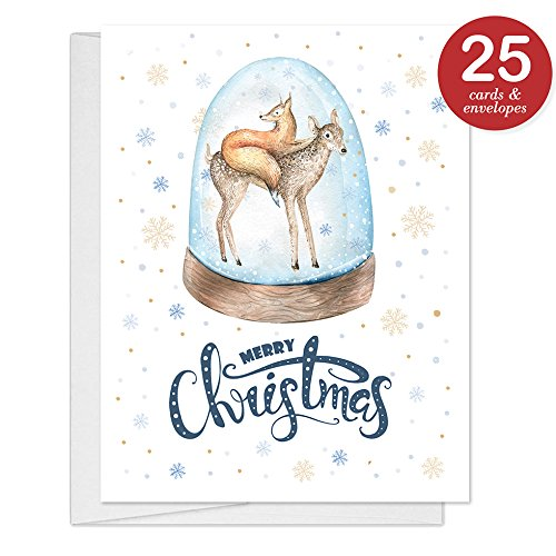 Cute Animals Holiday Cards with Envelopes ( Set of 25 ) Merry Christmas Season's Greetings to Family & Friends, 25 Folded, Boxed & Blank Inside Notecards Excellent Value by Digibuddha VH0068B Christmas Greetings Friend