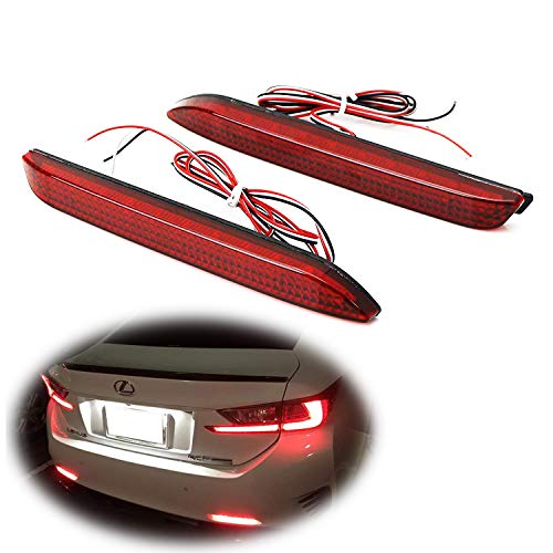 iJDMTOY Red Lens 42-SMD LED Bumper Reflector Lights for Lexus RC NX is-F GX etc. Function as Tail, Brake & Rear Fog Lamps ()