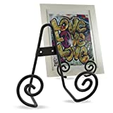 plate display wall mount - Vintage Style Home Office Décor Iron Scroll Wall Mountable Desk Display Easel Black 5.5 Inch Set of 2