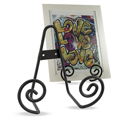 Vintage Style Home Office Décor Iron Scroll Wall Mountable Desk Display Easel Black 5.5 Inch Set of 2 (Frame Iron Table)