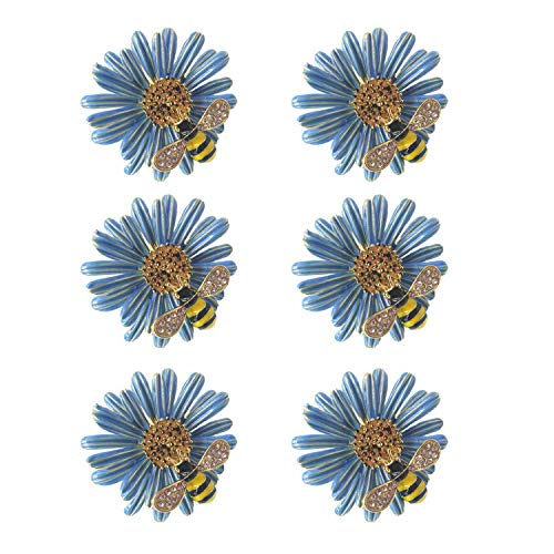 ZILucky Set of 6 Daisy Flower with Bee Napkin Rings Wedding Napkin Holder Wedding Party and Daily Use Dinner Table Décor Accessories (Blue)
