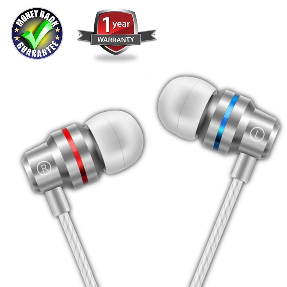 Earbuds Ear Buds in Ear Headphones Wired Earphones with Microphone Mic Stereo and Volume Control Waterproof Wired Earphone for iPhone Samsung Android Mp3 Players Tablet Laptop 3.5mm Audio (Silver) by LeeRay