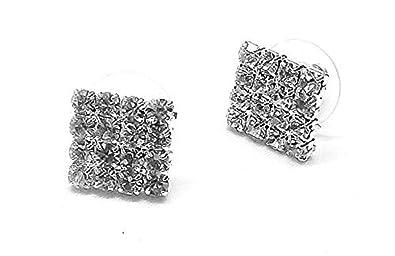 Crystal Rhinestone Diamante Square Magnetic CLIP ON Earrings Stud Mens Women Unisex Childrens beMZ1bZ5I