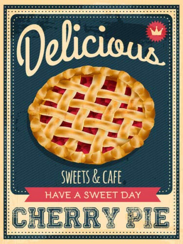 - onepicebest 8x12 Inches Cherry Pie American Diner Metal Sign, Retro Plaque, Fast Food, Cafe Bar