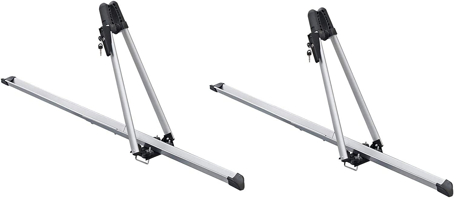 UKB4C 2x Universal Car Roof Mounted Upright Bicycle Rack Bike Locking Cycle Carrier New