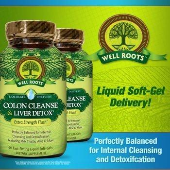 Colon Liver Detox - Well Roots Colon Cleanse and Liver Detox, 2 Bottles, Total of 120 Liquid Softgels