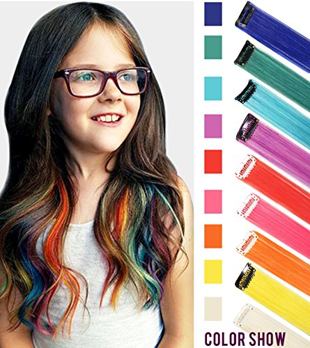 CCW 9PCS Wig Pieces For America Girls and Dolls Clip In/On Colored...