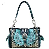 MW586-8085 Montana West Buckle Collection Satchel Handbag (Turquoise)