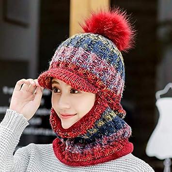 MAOCAP Sombrero Mujer Invierno Salvaje Dulce Lindo más Terciopelo Orejeras  Sombrero Caliente Ciclismo frío un Sombrero de Punto 02dfdaf90fa