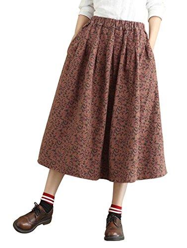 Yimoon Women's Retro Floral Print Loose Pockets Cotton Skirt Elastic Waist Pleated Midi Swing Skirt (Brown red, One - Linen Skirt Print