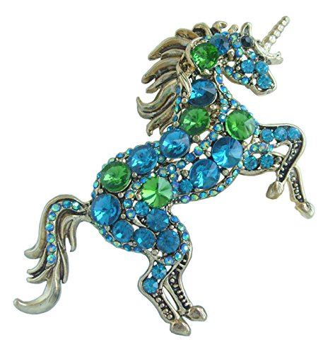 "Sindary Unique 3.35"" Unicorn Horse Brooch Pin Pendant Gold-Tone Turquoise Green Rhinestone Crystal BZ6172"