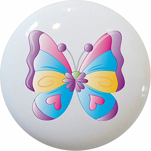 Carolina Hardware and Decor 2224 Kid's Butterfly Ceramic Cabinet Dresser Drawer - Dresser Knobs Butterfly