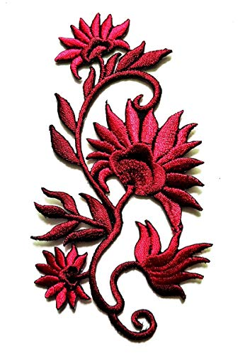 Red Beautiful Orchid Bloom Garden DIY Patch Embroidery Applique Patch Beautiful Flowers Patch for Bags Jackets Jeans Clothes or Gift (Red Orchid)