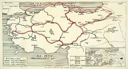 1937 Print Map Turkey Bitlis Erzincan Erzerum Yildiz Sivas Nigde Ankara Konya - Relief Line-block Map by...