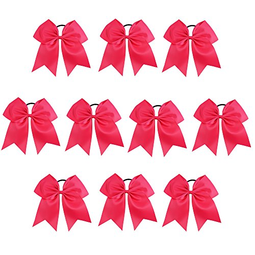CN Girls Hair Bow with Ponytail Holder for Cheerleading Girl Pack of 10