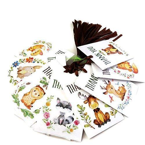 Wedding Invitation Fall Leaves (Woodland Forest Animals Thank You Favor Tags - Baby Shower Birthday Party Gift Tags - Set of 24)