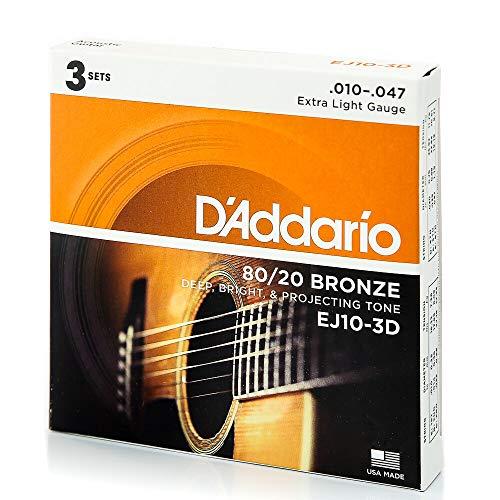 DAddario EJ10 Cuerdas de bronce para guitarra acústica.
