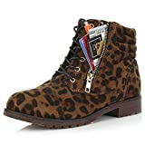 DailyShoes Women's Military Lace up Buckle Combat Boots Ankle High Exclusive Credit Card Pocket, Wild Leopard, 11
