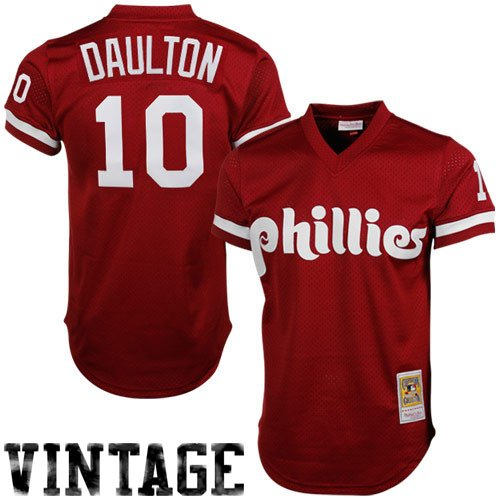 Throwback Mesh (MLB Mitchell & Ness Darren Daulton Philadelphia Phillies 1991 Authentic Throwback Mesh Batting Practice Jersey - Maroon (X-Large))