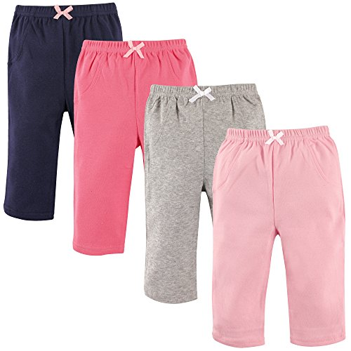 Luvable Friends Baby Cotton Tapered Ankle Pants, Girl Solids 4 Pack, 12-18 Months (18M)