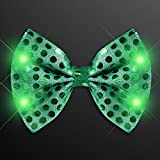 LED Light Up Flashing Sequin Bow Ties Tie - Various Colors by Mammoth Sales (Green)